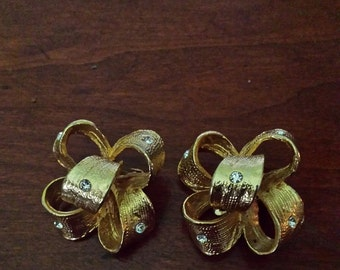 """vintage bow brushed gold with rhinestones  clip earrings  signed """"Coro"""""""