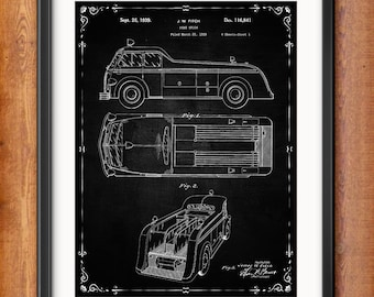 Firefighter Gift for Him Patent Prints - Firefighter Decor - Firefighter Art Posters - Fire House - Fire Equipment - 1321