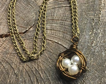 Necklaces antiqued brass artistic wire birdsnest necklace with 3 white pearl beads