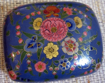 Papier Mache Box with Lid, Handpainted, Vintage from India