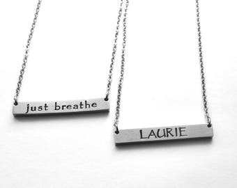 Personalized bar necklace - Personalized stainless steel bar necklace - Any text that fits! - See ALL photos!!