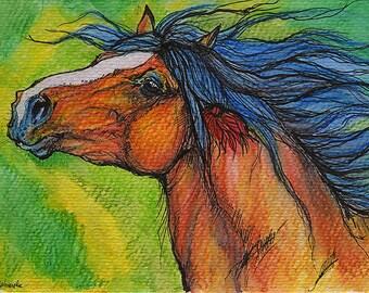 Bucht schweren Pferd Pferde Kunst, Pferdesport, Tinte und Aquarell Bleistifte original-Gemälde