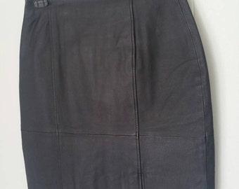 KC Collection Black Leather Mini Skirt | Vintage Size 10
