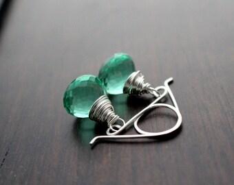Green Quartz Dangle Earrings, Sterling Silver Mint Gemstone Drops, Handmade Gifts, Caribbean Green , Gold or Rose Gold