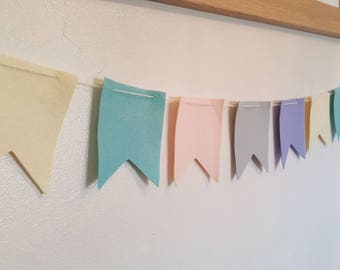 Pastel Felt flag bunting . Nursery Garland.  Baby shower gift. Baby room decoration.  Pastel bunting