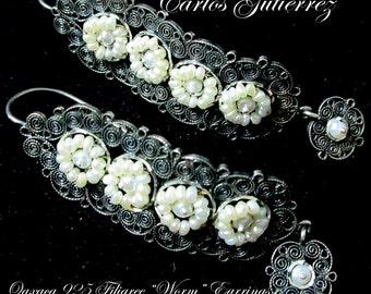 Carlos Gutierrez+Spanish Colonial Style+Traditional Oaxaca+925+Filigree+Seed Pearl+GUSANO (WORM)+Earrings