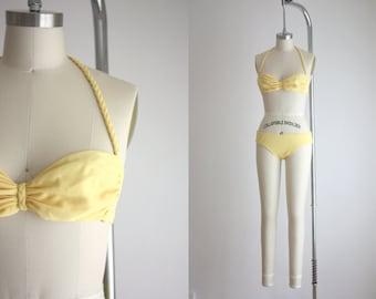 vintage lemon yellow bikini