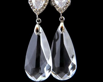 Bridal Earrings Crystal, Drop Earrings, Silver Bridesmaid Earrings, Teardrop Earrings for Bridesmaids, Bridal Jewelry, Clear Crystal Earring