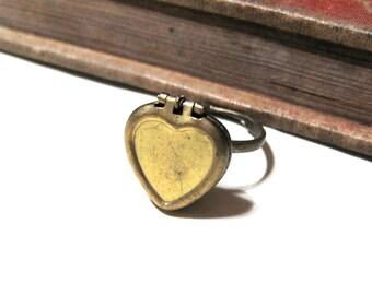 Vintage Heart Locket Ring - Solid Brass - Adjustable - Photo Locket
