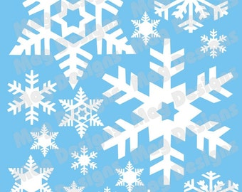 """Snowflakes - Vinyl Decal - White Snowflakes - 20 - includes 1"""" snowflakes with a few 4-5 inch"""