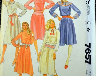 Vintage 80's Sewing Pattern McCall's 7657 Misses' Dress or Top and Skirt  for Stretch Knits  Size 12 Bust 34 Complete Uncut FF