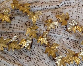 Vintage Heart Shaped Gold Leaf Wreaths - Set of 2 Mid Century Gold Wall Sculptures, Regency Metal Art, Whimsical Decor, Regency Home Decor