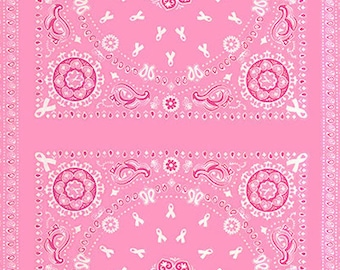 "PANEL - Project Pink by Rosemarie Lavin for Windham Fabrics, PANEL #36406P-1, Each Panel has 2 Bandanas and Measures 24"" X 43"""