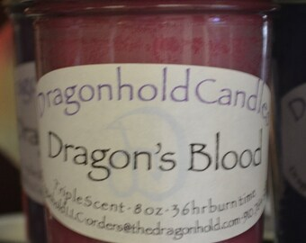 Dragon's Blood Candle: Hand Poured, Triple Scented Soy-Paraffin Candle