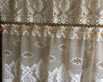 French lace cafe curtain set , Home Decor- windmill design .