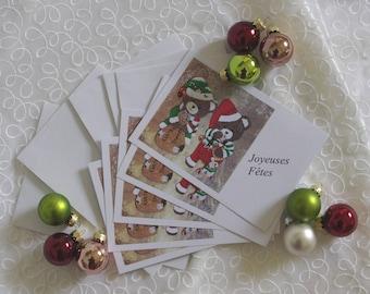 Set of 10 greeting cards Amandine and elves Christmas honey