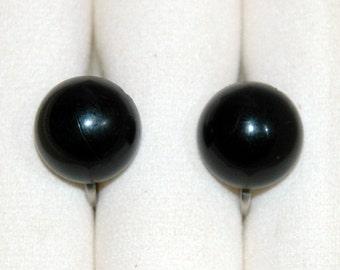 Vintage Black Screwback Earrings