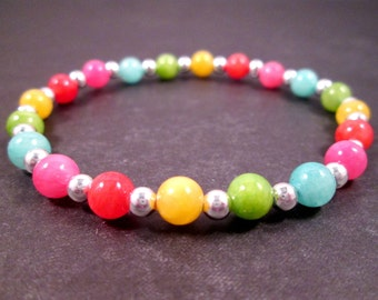 Colorful Quartzite and Silver Stretch Bracelet, Gemstone Beaded Bracelet, FREE Shipping U.S.