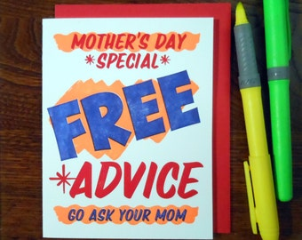 SALE 50% OFF letterpress grocery store mother's day special free advice greeting card neon orange ink with red blue go ask your mom