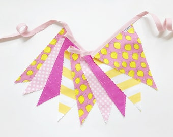 Lemonade Pennant Fabric Banner, Bunting, Garland - READY TO SHIP!