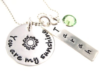 Personalized Necklace- You Are My Sunshine Personalized Necklace with Birthstone Crystal