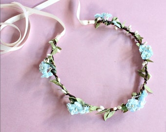 Blue Flower Crown. Floral Crown, Headpiece Bohemian. bridemaids, wedding hair crown, rustic crown, bridal hair Accessories,