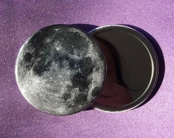Full moon pocket mirror / Compact mirror / Planet pocket mirror / Full moon compact mirror / Full moon accessory / Lunar accessory