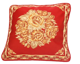 Maroon Throw Pillow Red Throw Pillow Cover Floral Pillow Decorative Cushion Home Decor Red and Brown Blooming Red Housewarming Gift for Her