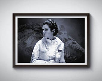 Princess Leia Organa Inspired Art Poster Print, Star Wars Carrie Fisher Poster