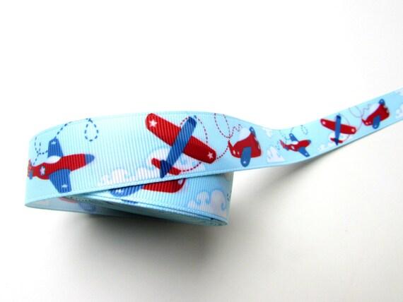 Teal blue grosgrain ribbon. Vintage airplane theme. Boy's belts, pacifier holders, bag straps 22 mm wide