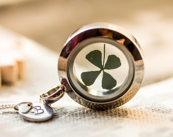 Small 925 Sterling Silver Necklace real four leaf water clover, shamrock, stainless steel locket, initials, clover, letter, shamrock