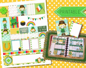 St. Patrick's Day Lucky Printable Stickers for Erin Condren Life Planner/Happy Planner INSTANT DOWNLOAD