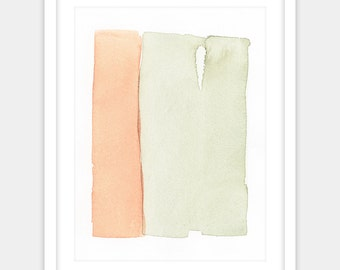 Digital print of a modern minimalist abstract watercolor painting in summer colors, sage green and tangerine