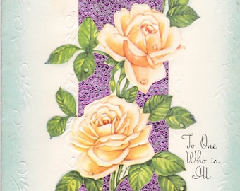 Vintage Unused Get Well Card 1940's Rose Theme Paper Ephemera Collectible Estate Sale