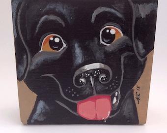 Dog Art - Dog Painting - Black Lab - Labrador Retriever - Canine Art - Kids Room Decor - Animal Art - Pet Portrait - Animal Decor