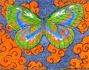 Papillon D'Esprit Butterfly of the Spirit Hand Made Blank Card