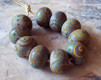 Ancient Fresco. Handmade Lampwork Glass Bead Set (5 pcs) Etched Lampwork Beads. Matte Finish Ancient Lampwork Rondelle. Made to order.
