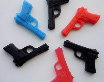 ORGANIC 2 Pistol Soaps - You Pick ONE Scent/Color - Vegan guest bath decorative gun rifle shoot bullet