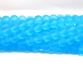 6mm Turquoise Beads, Turquoise Beads, Bright Blue Beads, 6mm Matte Beads, 6mm Blue Sea Glass Beads, Matte Beads, Matte Glass, D-H35