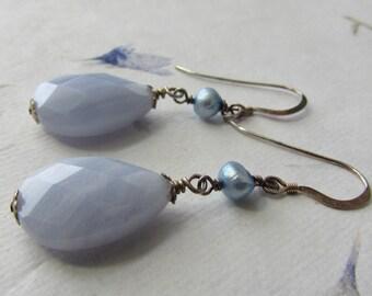 Handmade teardrop gemstone blue lace agate freshwater pearls sterling silver earrings