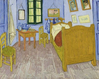 Vincent van Gogh : Bedroom in Arles (1888) Canvas Gallery Wrapped Giclee Wall Art Print (D45)