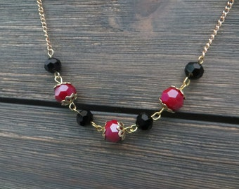 Crimson and Black Rondelle Beaded Choker Necklace