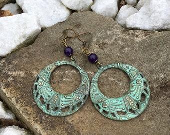 Patina Hoop Boho Earrings, Deco Bohemian, metal drops,Amethyst gemstone earrings, Gypsy jewelry
