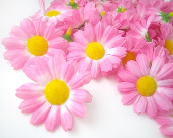 100 Pink Gerbera Daisy Heads - Artificial Silk Flower - 1.75 inches - Wholesale Lot - for Wedding work, Make Hair clips