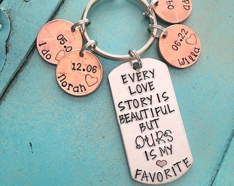 Personalized Anniversary Keychain, Hand Stamped Our Love Story Keychain, Wedding Gift, Valentines Day Gift, Wife Husband Christmas Gift