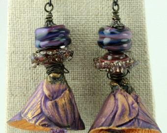 Purple & Copper Shell Earrings, Rustic Earrings, Rustic Boho Earrings, Bohemian Earrings, Flower Earrings, ChrisKaitlynJewelry, #922