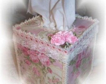 Teapots and Pink Roses Square TISSUE COVER for your Shabby Chic Bathroom Kitchen Decor Great Gift