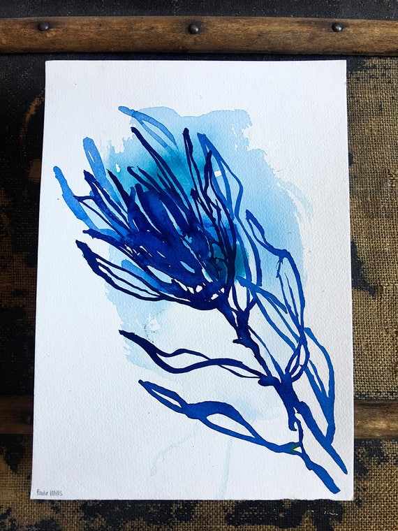 Original watercolor and ink painting on paper Blue Protea No.2 artwork by Paula Mills