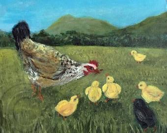 Irish Momma Hen and Chicks,Original, Hand Painted, Acrylic Painting
