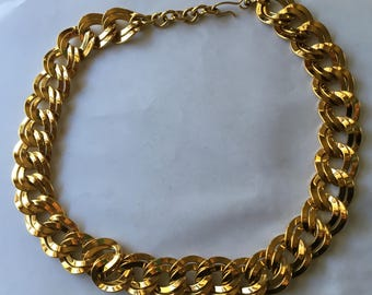 Sale Vintage Monet Gold Tone Double Ring Necklace Hefty Statement Piece